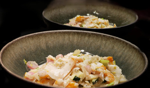 Wok de légumes de Printemps au haddock et au chèvre.