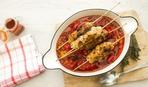 Brochettes de kefta de veau, fondue de poivron au paprika