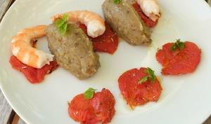 Salade de crevettes, tomates confites aux herbes de Provence et son caviar d'aubergine