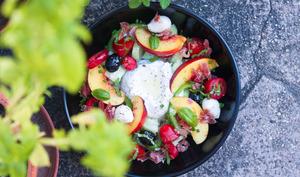 Salade de tomates, nectarines et burrata