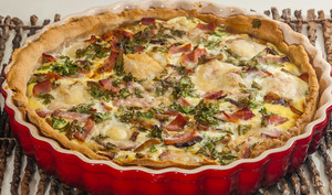 Quiche aux cèpes, bacon et mozzarella