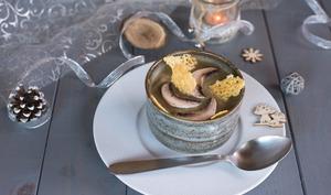 Crème de champignons et patate douce & tuiles de comté