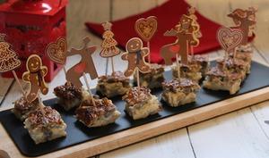 Amuse-bouche aux champignons et fromage de chèvre frais