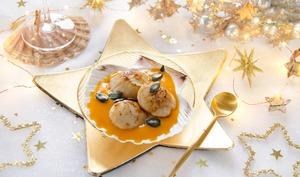 Crème de butternut aux noix de saint-jacques rôties