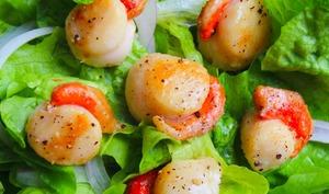Salade de noix de saint-jacques poêlées