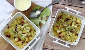 Gratin de pommes de terre et chou au bacon et cancoillotte