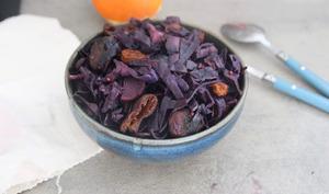 Chou rouge braisé au fruits secs et aux épices