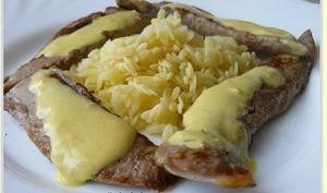 Émincé de canard, sabayon à la moutarde