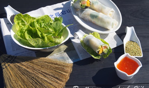 Rouleaux de printemps avocat, mangue et saumon mariné