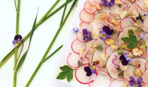 Carpaccio radis noir et rose aux violettes