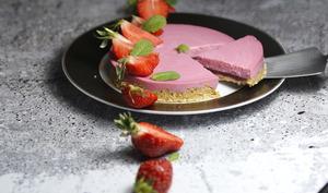 Tarte panna cotta fraises et coulis de menthe