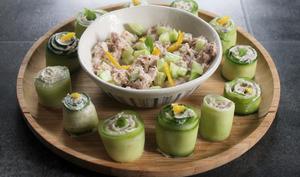 Roulés apéritifs concombre et thon