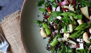 Salade de lentilles, épinards et asperges