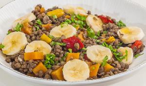 Lentilles, patate douce et banane