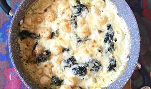 Gnocchis et épinards gratinés au cheddar