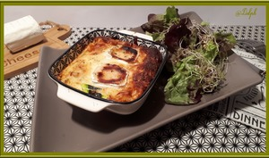 Clafoutis de courgette, lardons et fromage