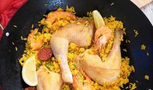Riz à l'espagnol et poulet façon paëlla