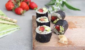 Makis fraises, pesto, courgettes