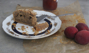 Gâteau à la confiture d'abricots, orange confite et farine de châtaigne