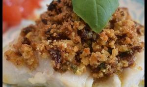 Cabillaud en croûte de basilic et tomates séchées -
