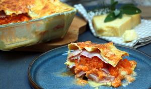 Lasagnes au potiron, jambon fumé et cantal