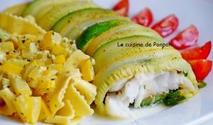 Filet de cabillaud enrobé de courgettes verte et jaune cuit à basse température