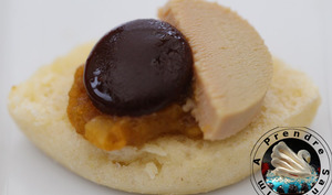 Navette chutney mangue abricots, foie gras chocolat