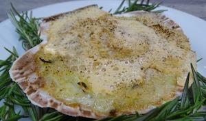 Saint-Jacques sur fondue de poireaux au bleu de brebis