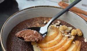 Porridge d'amarante au chocolat façon poire belle-Hélène aux épices chaï