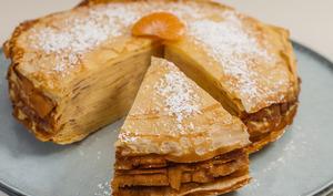 Gâteau de crêpes au mandarine curd