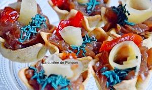 Amuse bouche au confit d'oignon, raifort et gingembre, sans cuisson, végétarien