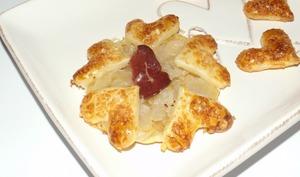 Mini flammekueche au foie gras et au magret de canard séché