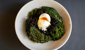 Chou kale et œuf mollet
