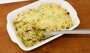 Gratin de crozets aux poireaux et aux restes de poulet rôti