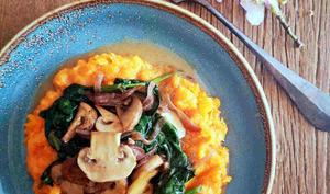 Purée de butternut champignon, épinard à l'avoine