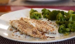 Filets de sole panés aux amandes et brocoli