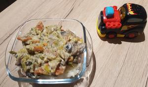 Petit pot blanquette de lieu noir aux légumes et riz