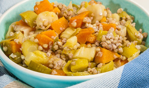Salade de sarrasin au poireau et patate douce
