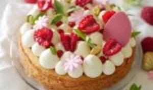 """La tarte """"fantastik"""" de Pâques, framboise et pistache"""