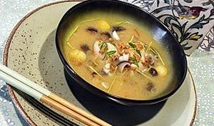 Soupe miso à la sole champignons et oca