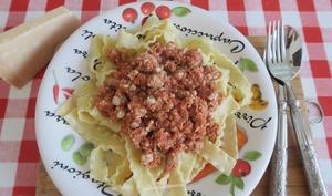 Pâtes au veau haché à la tomate