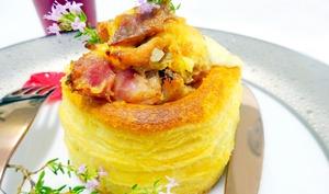Vol-au-vent aux andouillettes, écrasé de pommes de terre et fromage raclette