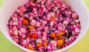 Salade de riz au jambon, betteraves et carottes