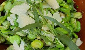 Salade de fèves, vinaigre balsamique, estragon et parmesan