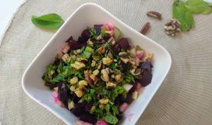 Salade de betteraves à la menthe, pomme, céleri et noix