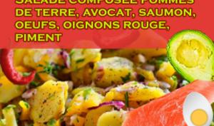 Salade composée aux pommes de terre, saumon fumé, avocats, oeufs, piments