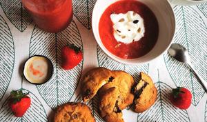 Compote fraise rhubarbe au sucre demerara