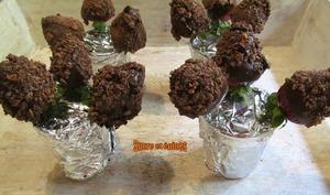 Fraises enrobées de chocolat et fèves de cacao