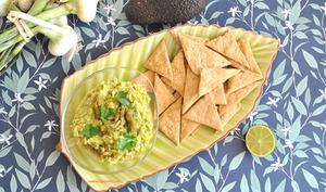 Guacamole asperges vertes et ses crackers