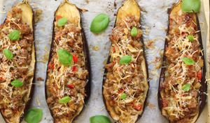 Aubergines farcies au four